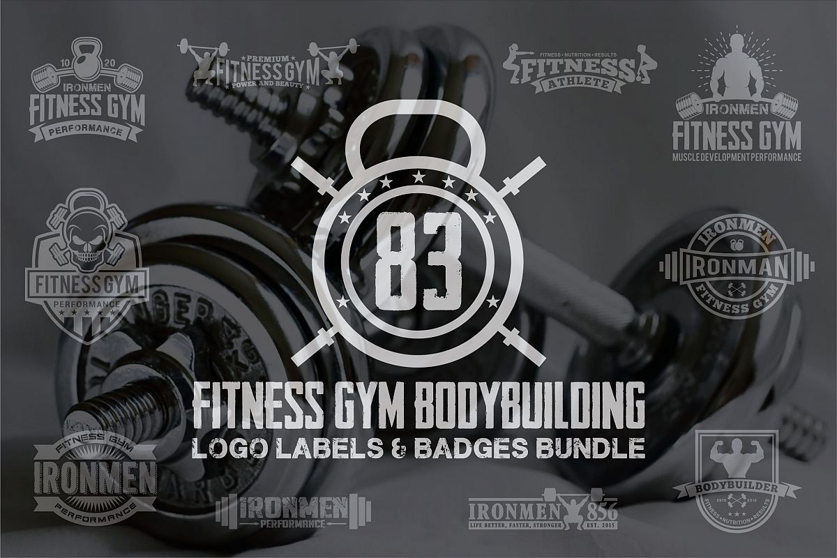 83 fitness gym bundle Logos Labels & Badges example image 1