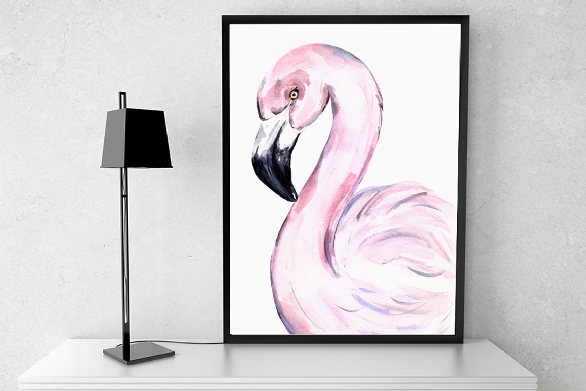 Watercolor Flamingo Print + Clip Art example image 1