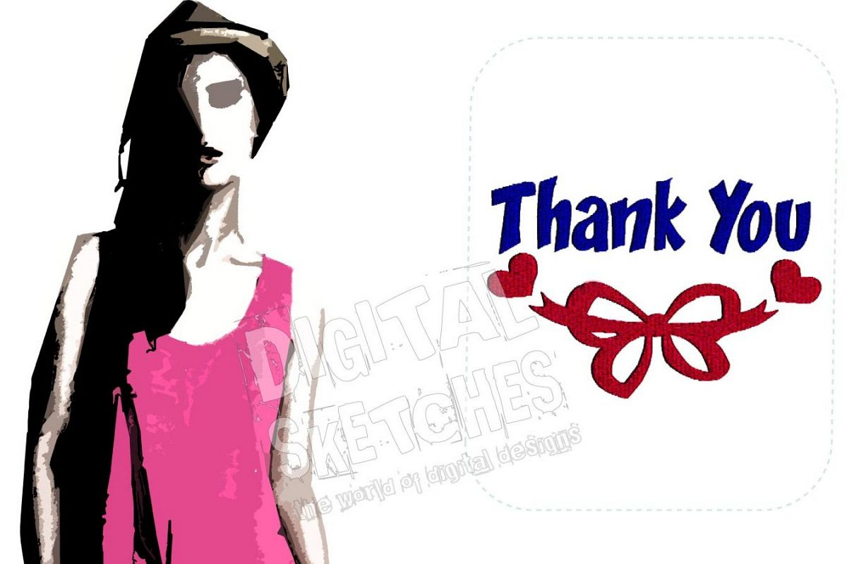 Thank You Saying Machine Embroidery Design 3 Sizes example image 1