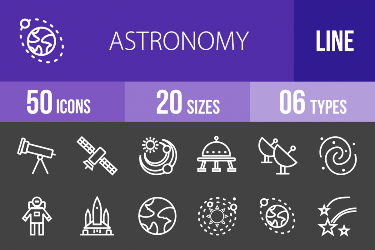 50 Astronomy Line Inverted Icons example image 1