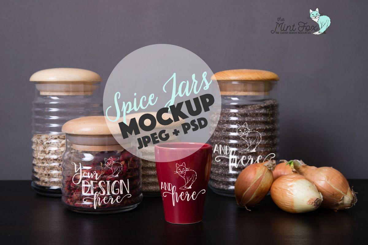 Spice Jars Mockup | PSD & JPG Mocku example image 1