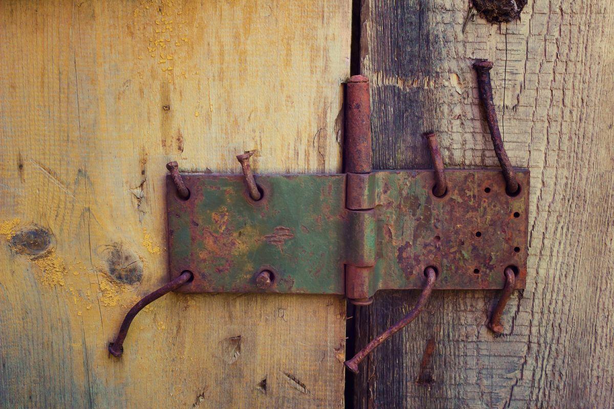 Grunge Background With Half Painted Wooden Door