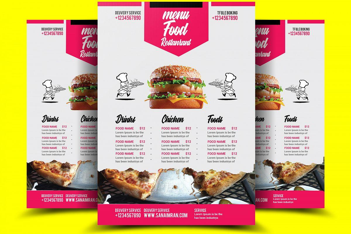 restaurant food menu flyer template