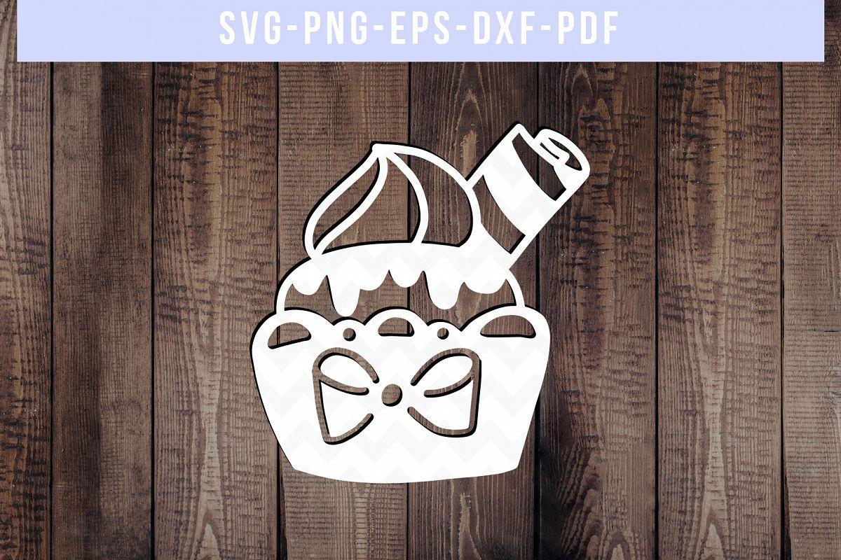 Sweet Cupcake Papercut Template, Birthday Cut File SVG PDF example image 1