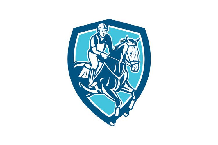 Equestrian Show Jumping Shield Retro example image 1