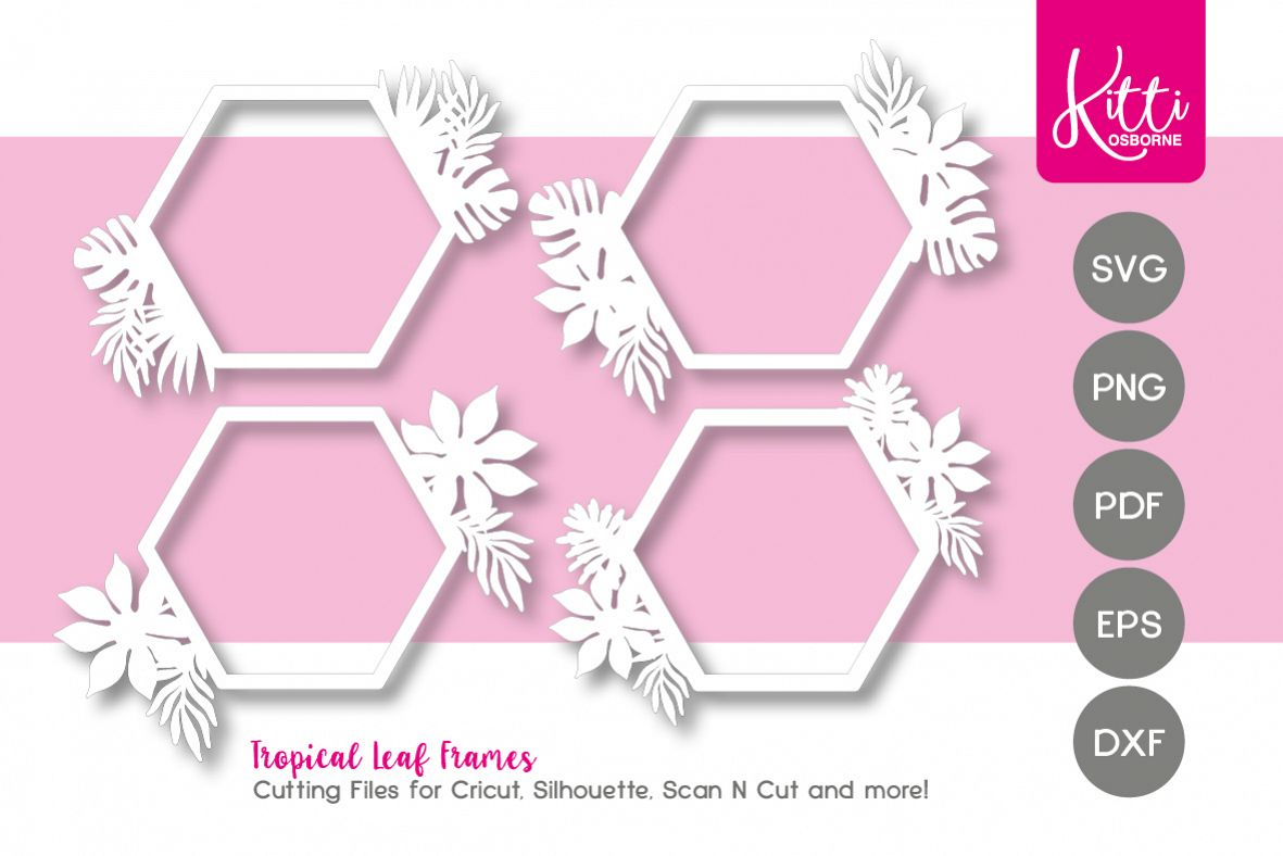 Tropical Leaf Frames Cutting files example image 1