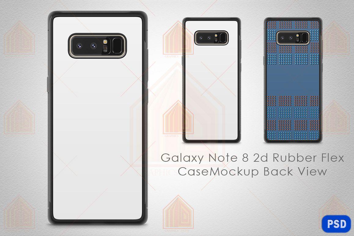 Galaxy Note 8 2d Rubber Flex Case Design Mockup Back example image 1