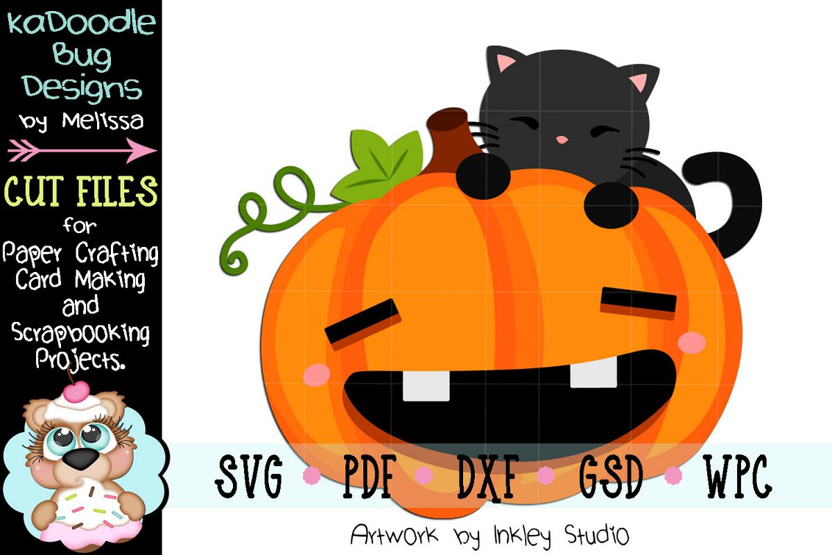 Pumpkin Cat Peeker Cut File - SVG PDF DXF GSD WPC example image 1
