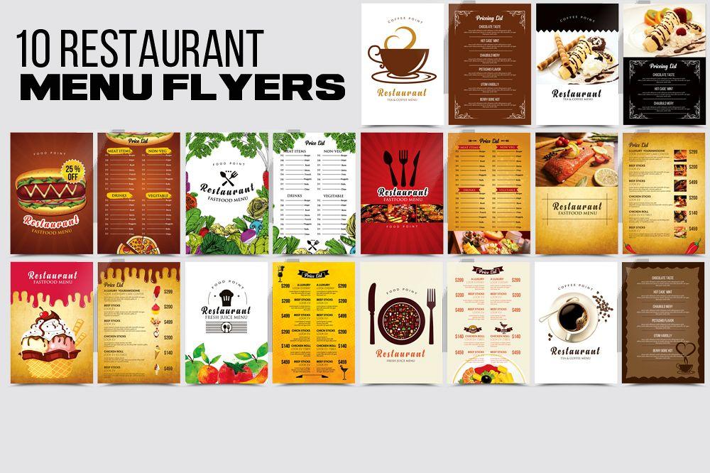 10 food restaurant menu flyer bundle