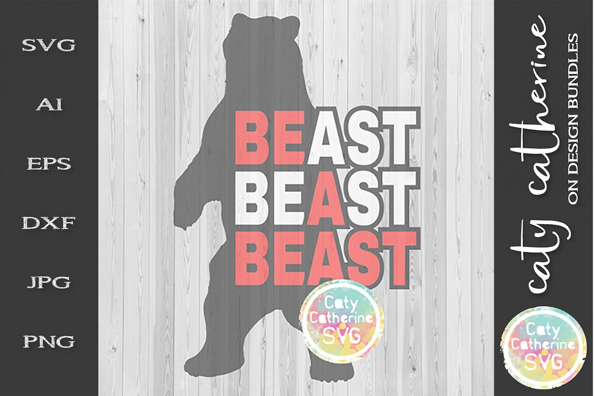 Be A Beast Bear SVG Workout Fitness Gym Tee Design example image 1