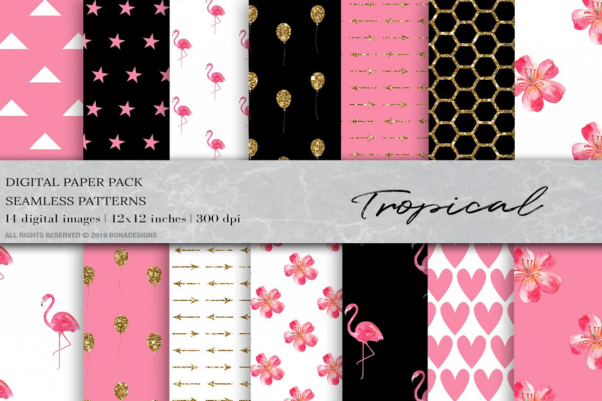 Tropical Digital Papers, Flamingo Seamless Patterns example image 1