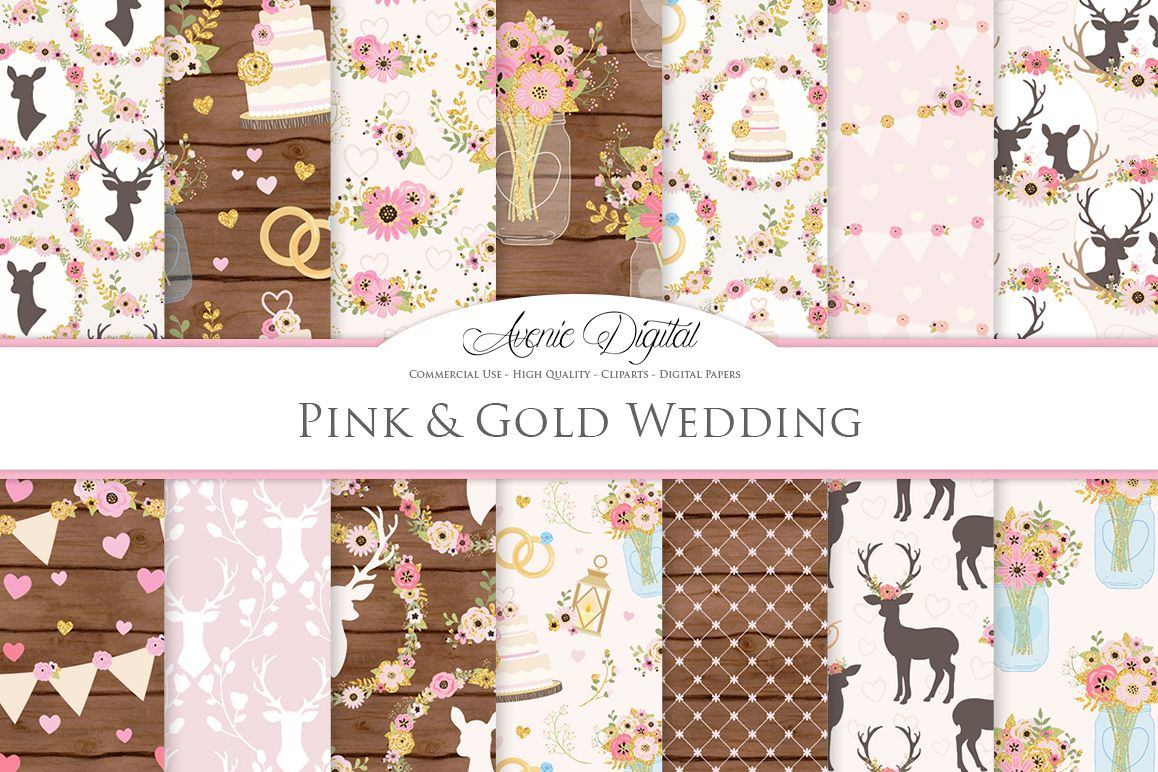 Pink and Gold Wedding Digital Paper - Gold and Pink Rustic Wedding Deer Seamless Patterns example image 1