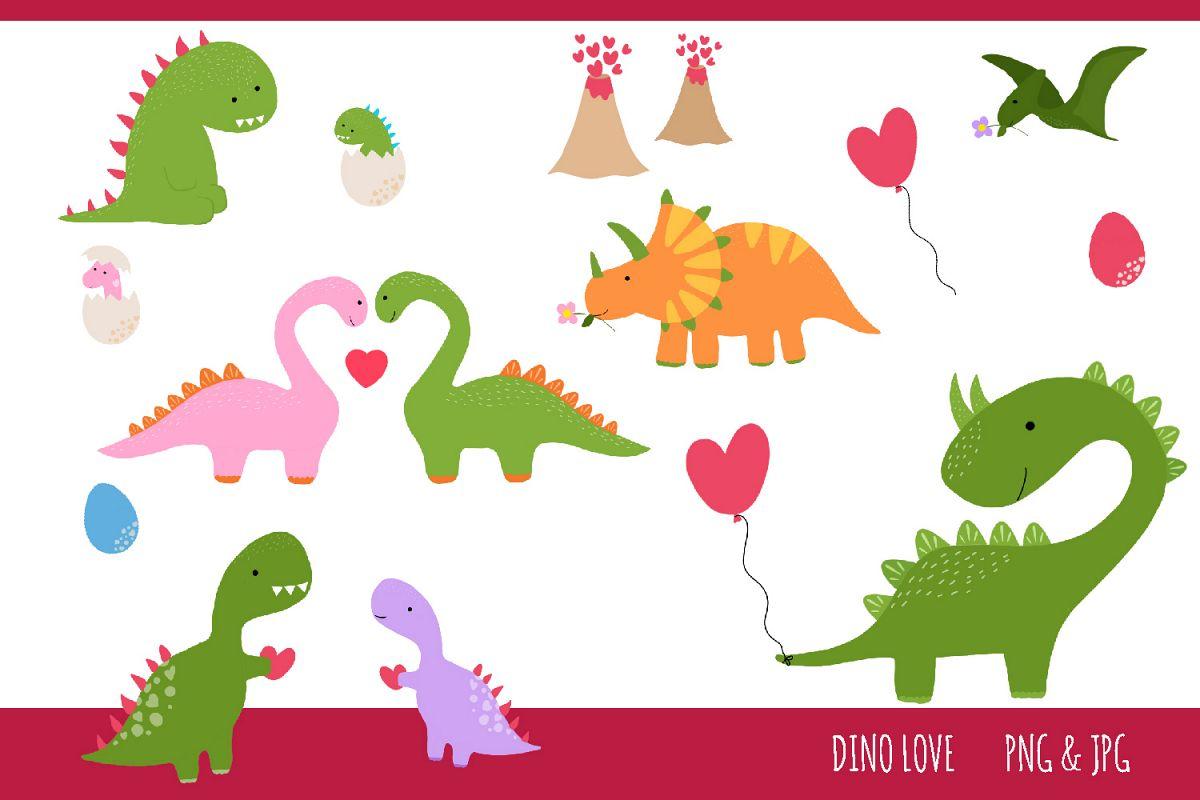 Dinosaur Love Clipart Set - jpg, png, 300 dpi example image 1