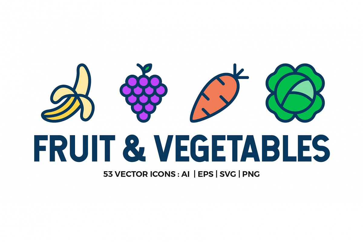 Fruit and Vegetables Icon Set example image 1