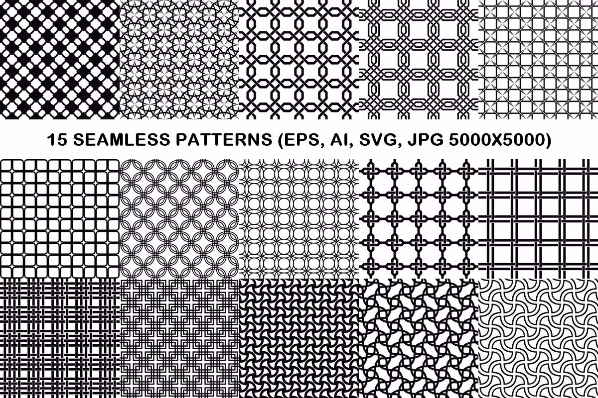 15 seamless grid patterns (EPS, AI, SVG, JPG 5000x5000) example image 1