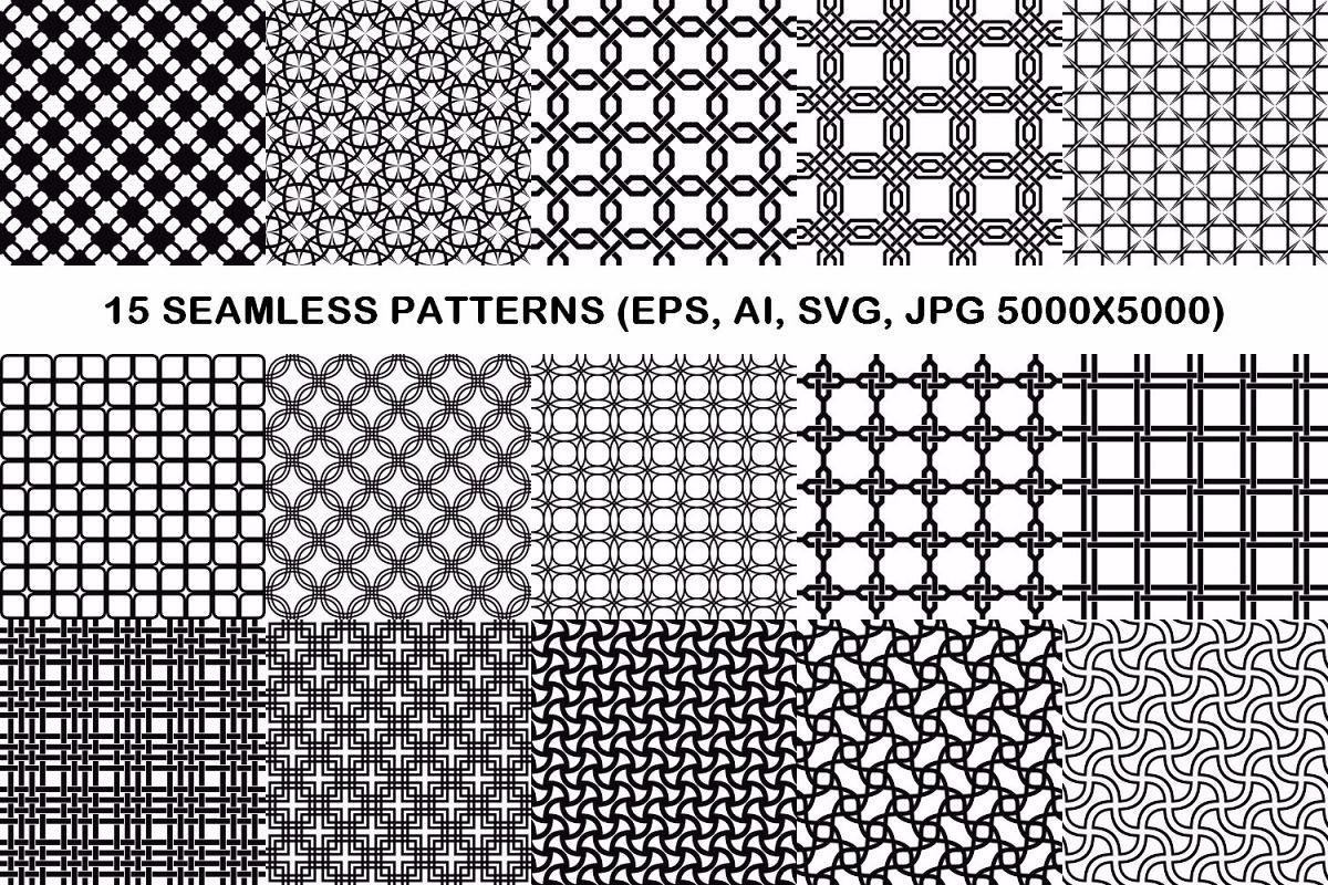 15 seamless grid patterns EPS, AI, SVG, JPG 5000x5000 example image 1