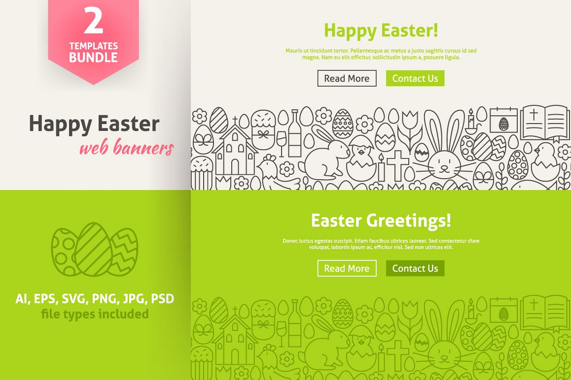 Happy Easter Line Art Web Banners example image 1