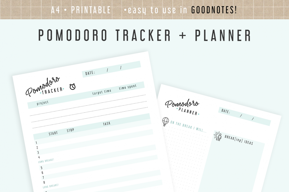 image about Printable Project called Pomodoro Planner Printable GoodNotes Keep track of Job Ambitions