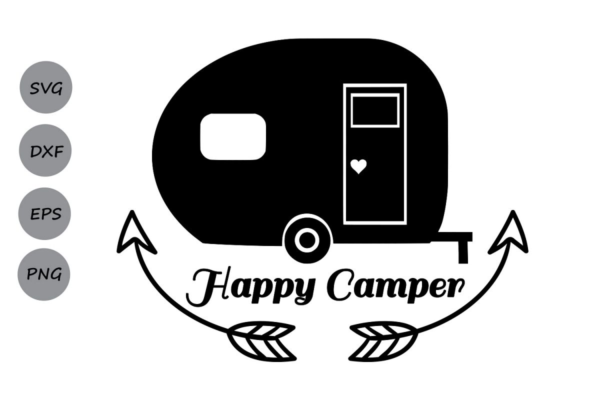 Happy Camper Svg Camping Cut Files Silhouette