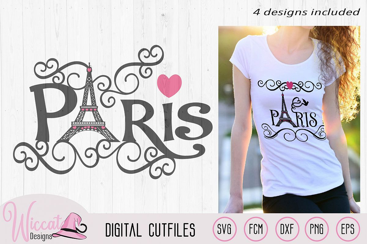 Paris Eiffel Tower word art, Valentine, City of love svg, example image 1