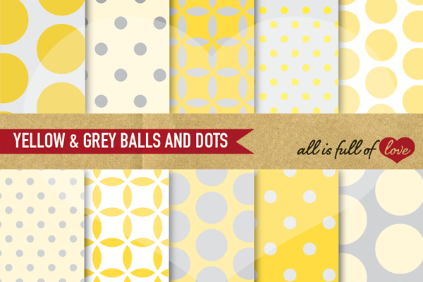 Yellow And Grey Digital Paper Dotted Scrapbook Background Patterns
