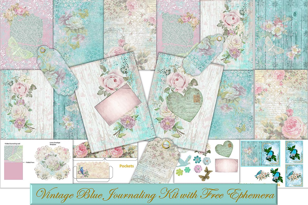 picture about Free Printable Ephemera referred to as Classic Blue Printable Journaling Package with free of charge ephemera