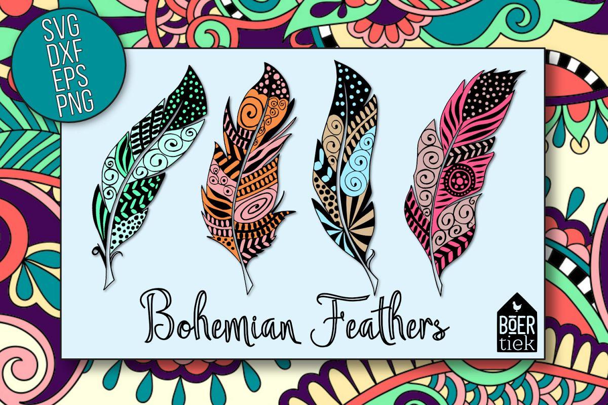 Hand-drawn feathers - Bohemian style, Ibiza style example image 1