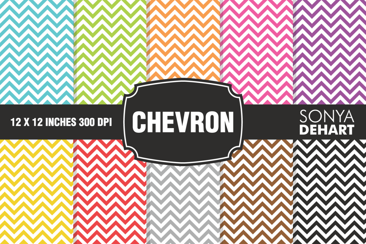 Chunky Chevron Digital Paper Pack example image 1