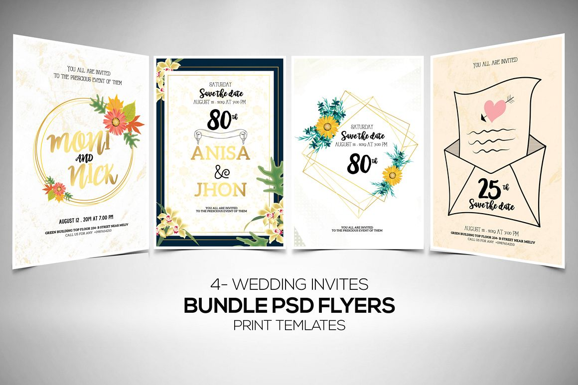 4 Floral Wedding Invitation Flyers Bundle example image 1