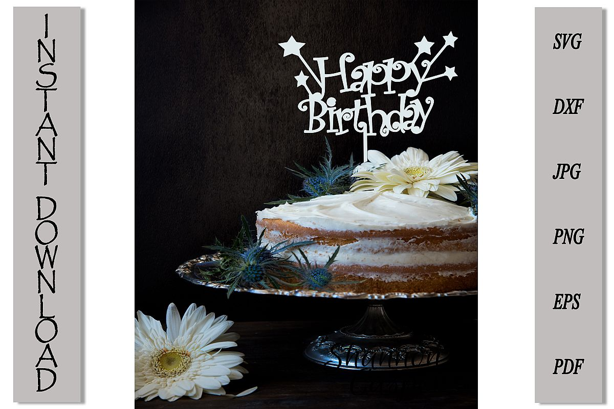 Happy Birthday Cake Topper with Stars example image 1