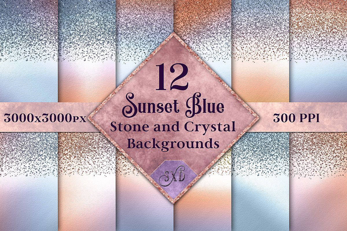 Sunset Blue Stone and Crystal Backgrounds - 12 Images example image 1