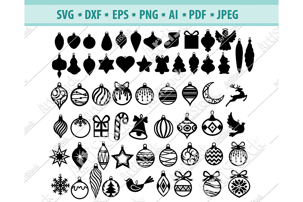 Christmas toys svg, Christmas trees decoration Dxf, Png, Eps example image 1