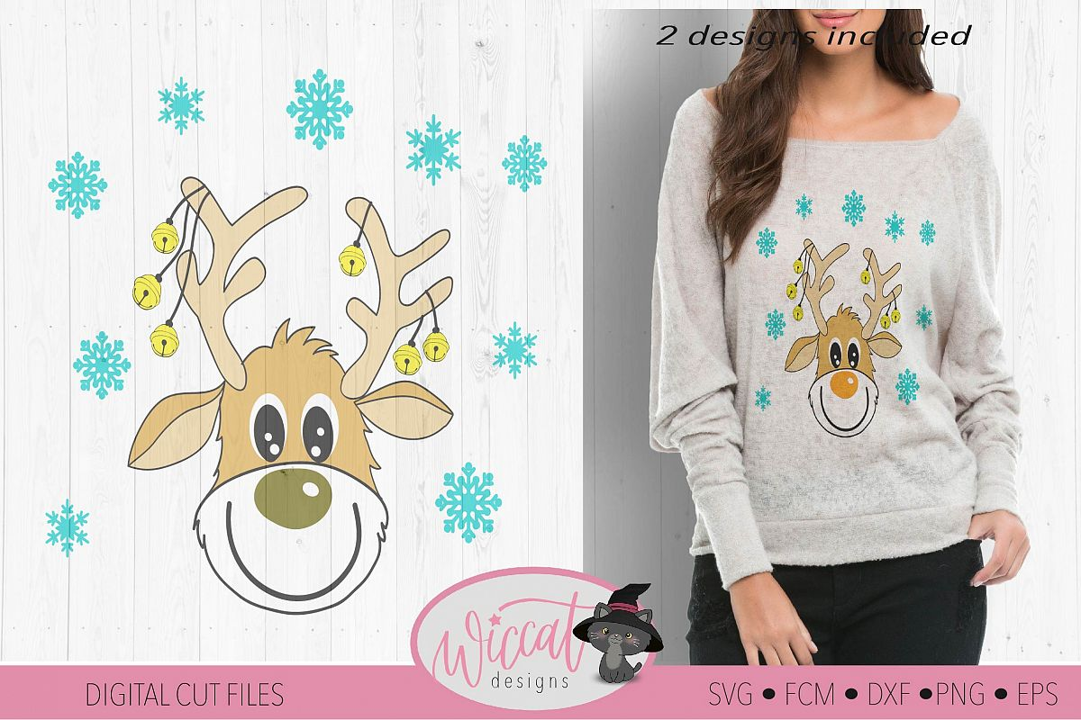Funny Reindeer svg, deer svg, Christmas sweater svg example image 1