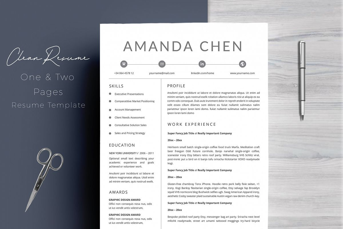 Clean Professional Resume Template Word