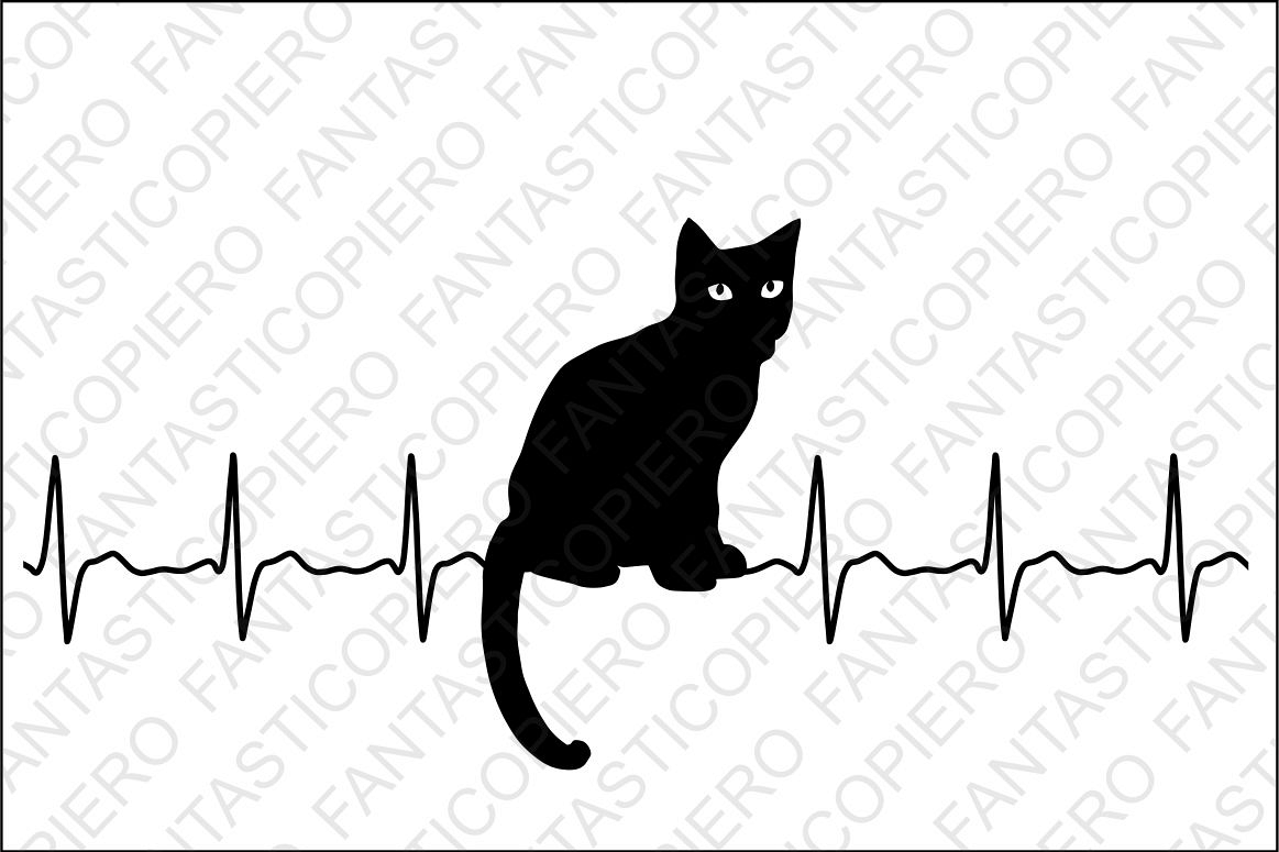 Cardio Cat SVG files for Silhouette Cameo and Cricut. example image 1