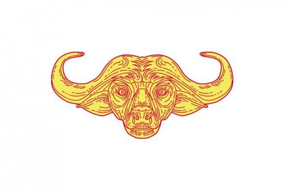 African Buffalo Head Mono Line example image 1