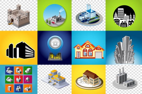 Vector industrial and city buildings example image 1