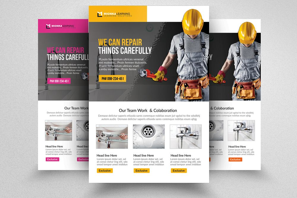 handyman  u0026 plumber services flyer