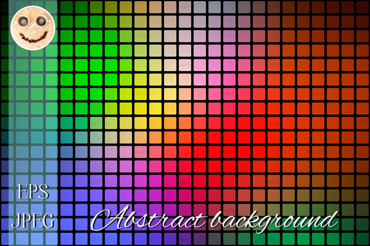 Green Blue Orange Red Abstract Rounded Mosaic Background
