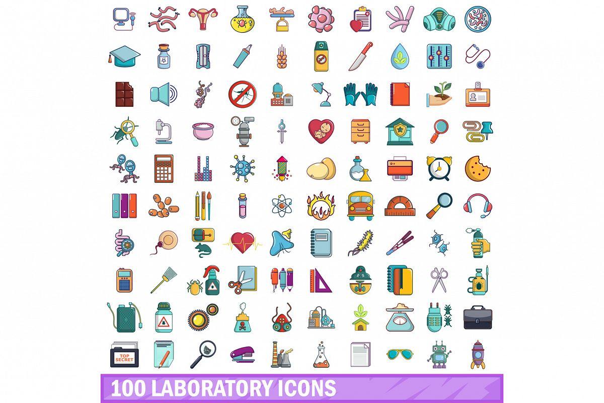 100 laboratory icons set, cartoon style example image 1