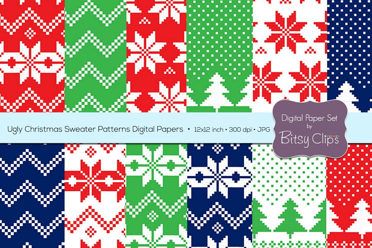 487f8fa8a Ugly Christmas Sweater Patterns Digital Paper Set Commercial Use Christmas  Scrapbook Paper Background Pattern example image
