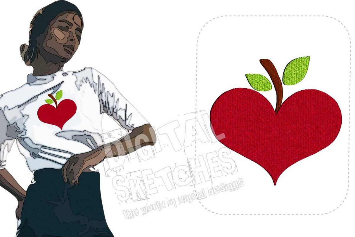 Apple Heart Machine Embroidery Design 3 Sizes example image 1
