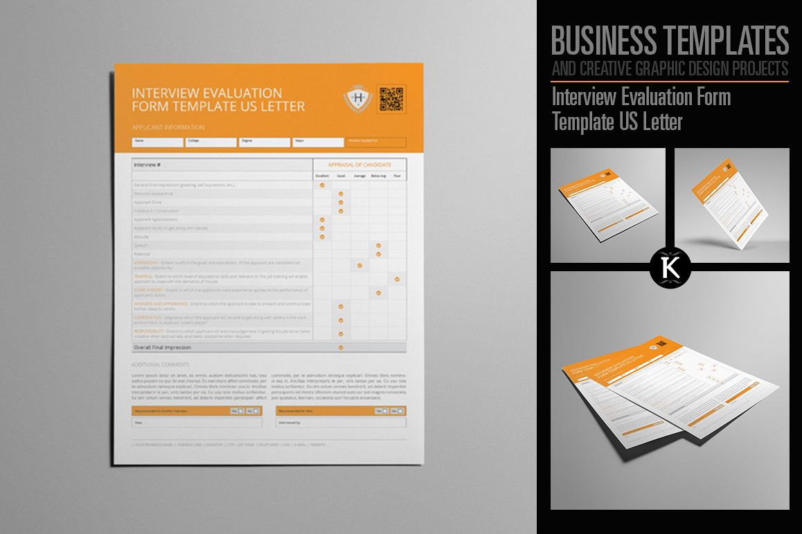 Interview Evaluation Form Template US Letter example image 1