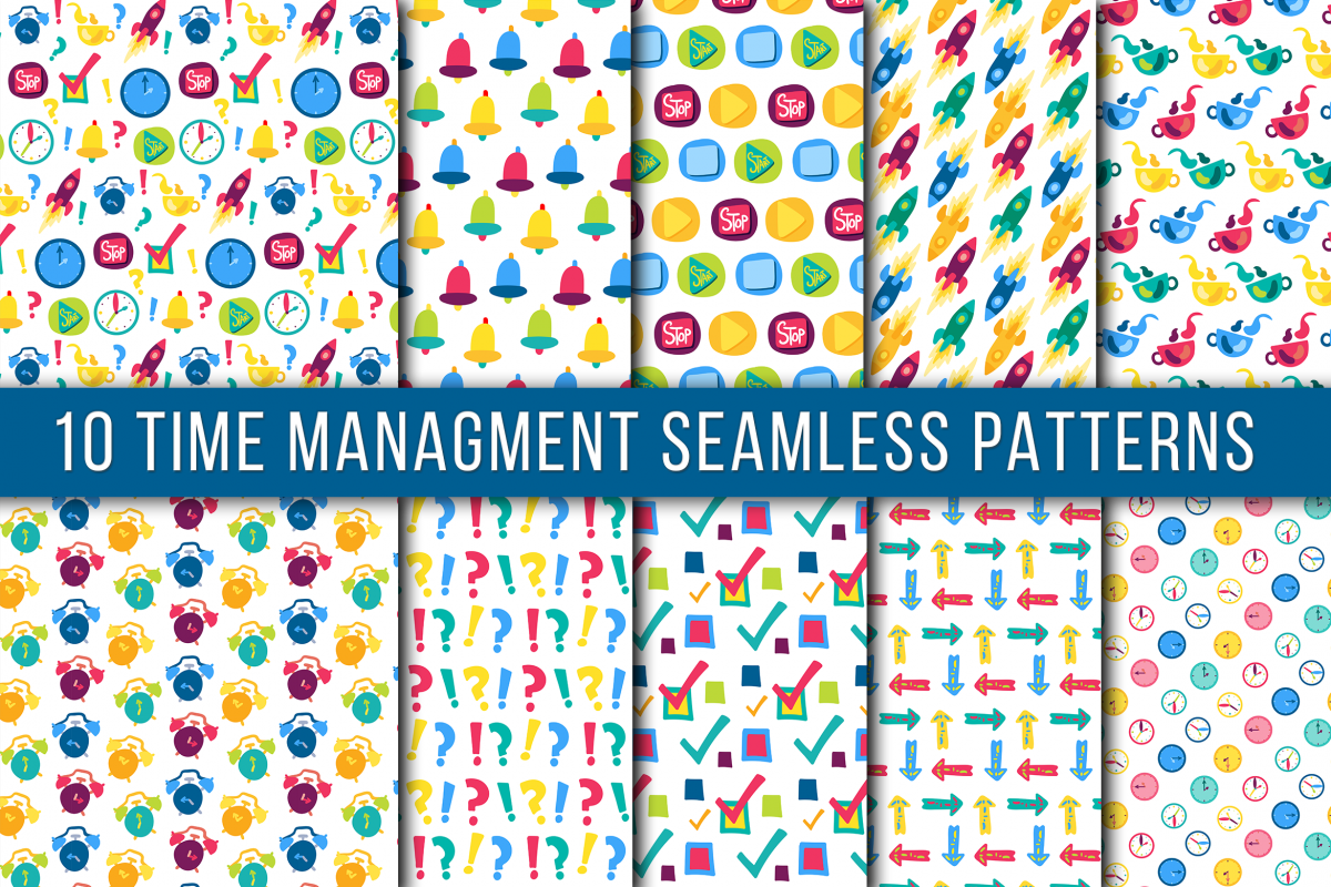 Time Mamagment Seamless Patterns example image 1