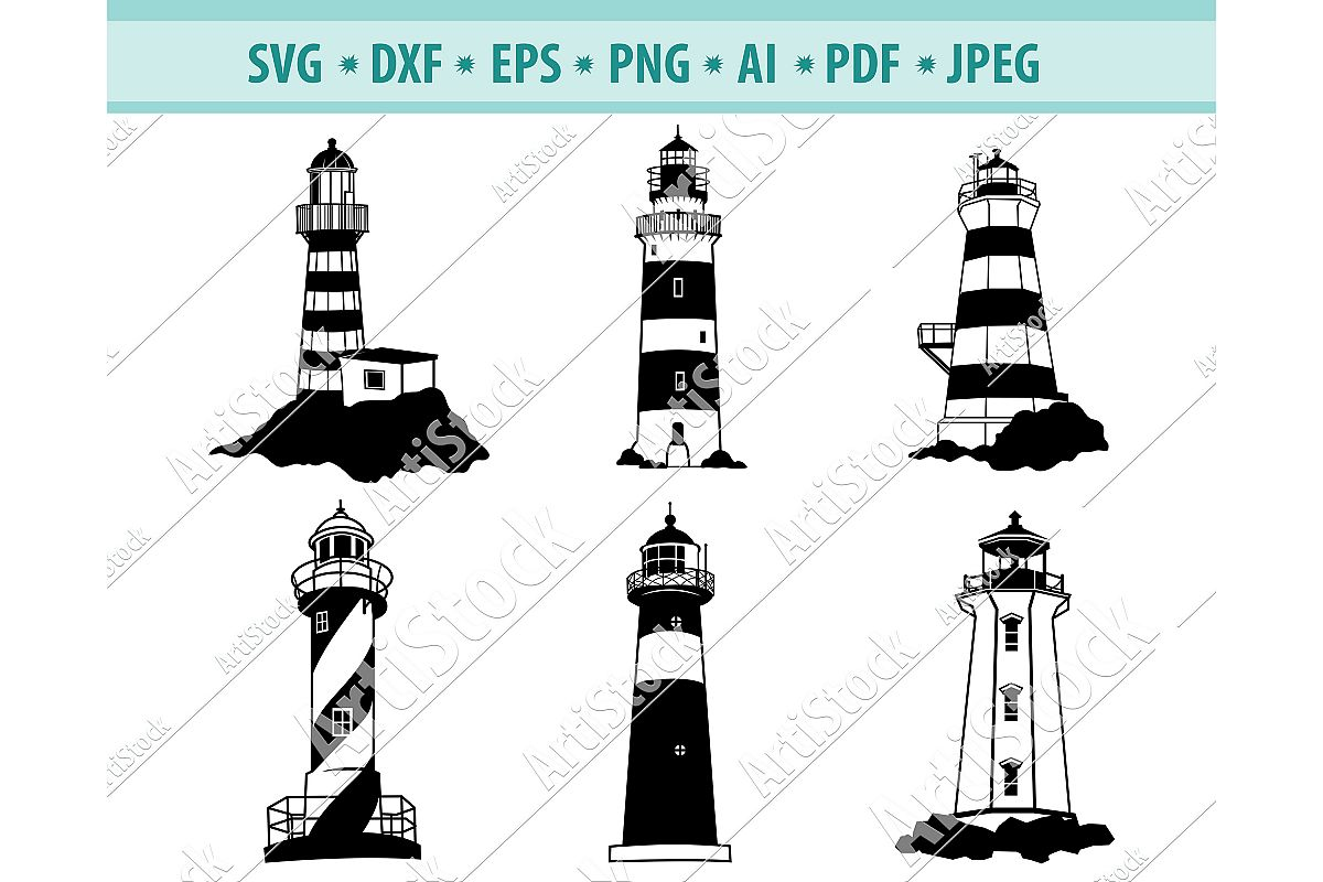 Lighthouse SVG, Ocean svg, Island lighthouse Dxf, Png, Eps example image 1