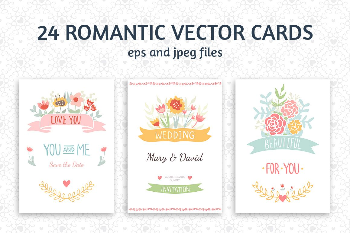 24 Romantic & Wedding Cards Template example image 1