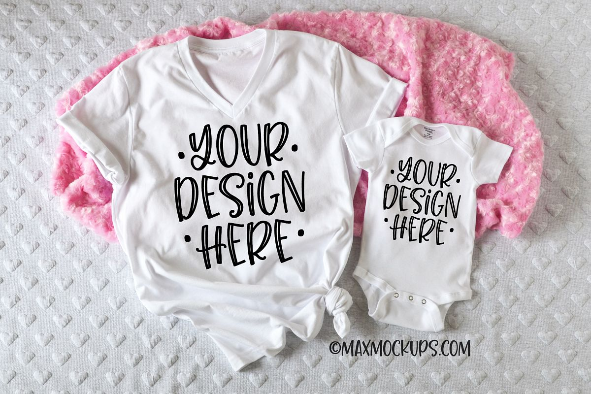 White vneck t-shirt and baby bodysuit mockup, pink fur example image 1