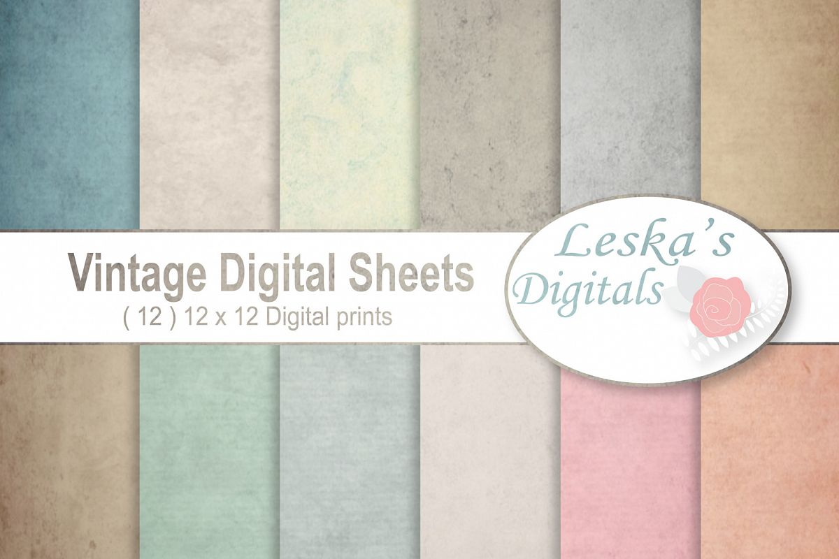Vintage Paper Backgrounds - Textured Backgrounds in Shabby Chic Colors example image 1