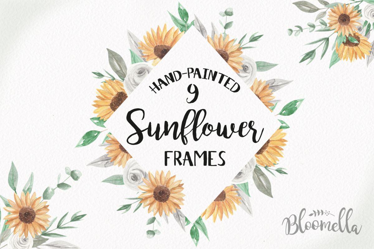Sunflower Frames Watercolor Clipart Border Flowers Florals