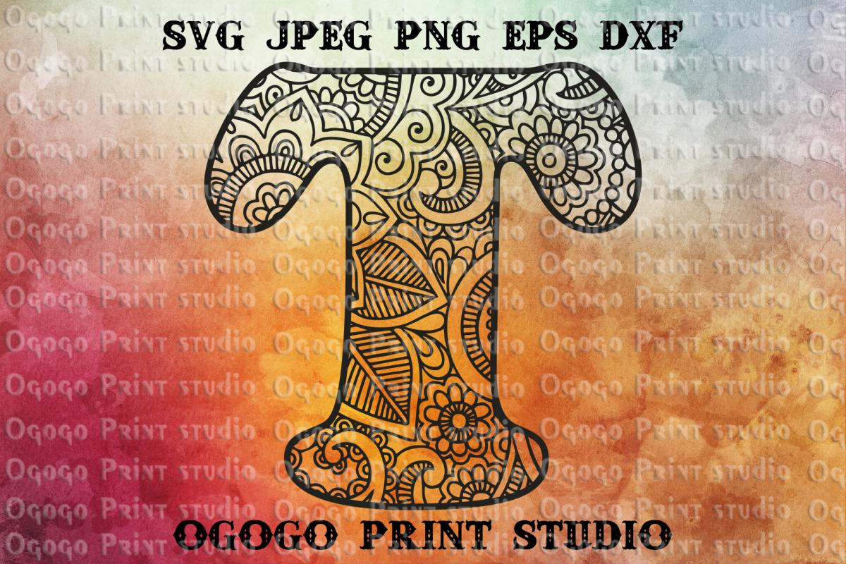 Alphabet Letter SVG, Floral font, Mandala svg, Zentangle SVG example image 1